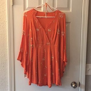 Free People Boho Orange Floral Dress
